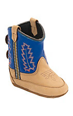 Old West® Poppet™ Tan w/Blue Top Western Infant Booties