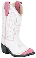 Old West® JAMA™ Childrens Wing Tip Western Boots - Pink & White