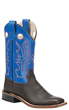 Old West® Youth Oiled Rusty Brown w/ Royal Blue Leather Top Square Toe Western Boots