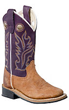 Old West® Jama™ Kids Distressed Brown w/ Purple Top Square Toe Western Boot