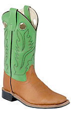 Old West® Childrens Brown Corona Calf w/ Lime Green Top Double Welt Square Toe Boots