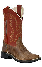 Old West® Kids Vintage Tumbled Tan w/ Vintage Orange Top Square Toe Western Boots
