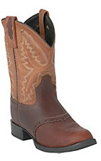 Old West® Youths Western Brown Boots w/ Tan Tops