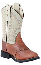 Old West® Childrens Oiled Rusty Brown w/ Ivory Top Easy Flex Western Boots