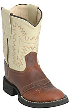 Old West® Infant Oiled Rusty Brown w/ Ivory Top Easy Flex Western Boots