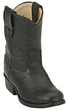 Old West® JAMA™ Infants Ostrich Print Roper Boots - Black