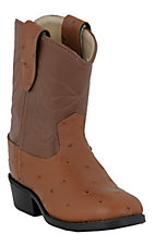 Old West® JAMA™ Infant Cognac Brown Ostrich Print w/ Brown Top Western Roper Boots