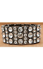 Wear N.E. Wear® Dark Silver with Clear Crystals Stretch Bracelet