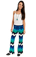 R. Rouge Women's Turquoise, Green, Black and White Chevron Palazzo Pants