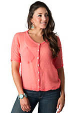 Angie® Women's Bright Pink Swiss Dot Sheer Dolman Short Sleeve Fashion Top