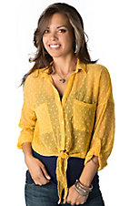 Angie® Women's Mustard Yellow Swiss Dot Button Down 3/4 Sleeve Fashion Top