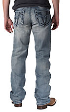 Petrol Men's Aaron Medium Wash V-Pocket Relaxed Fit Boot Cut Jean