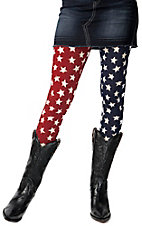 See You Monday® Women's Red and Blue with White Stars Leggings