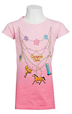 Kid-U-Not® Girls Light Pink Cowgirls Rule Necklace Short Sleeve Tee