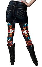 See You Monday® Women's Black with Multi Aztec Print Leggings