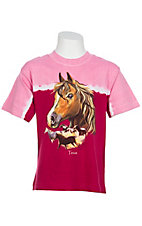 Kid-U-Not® Girls Pink w/ Horses Glow In the Dark Short Sleeve Tee