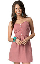 Pink Cattlelac® Women's Red Gingham Pearl Snap Back Dress