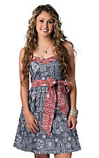 Pink Cattlelac® Women's Red and Blue Bandana Strapless Dress
