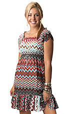 Pink Cattlelac® Women's Red, Brown and Blue Chevron Short Sleeve Dress