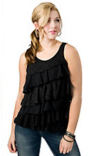 Pink Cattelac® Women's Black with Lace Ruffle Tank Fashion Top