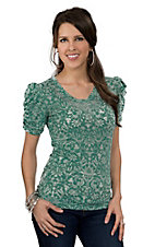 Pink Cattlelac® Women's Sage  Floral Burnout w/ Crystals Puffed Short Sleeve Top