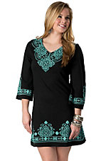 Pink Cattlelac® Women's Black & Turquoise Screenprint Embroidery V-Neck 3/4 Sleeves Dress