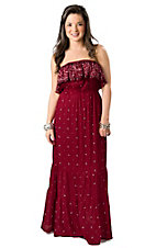 Pink Cattlelac® Women's Red and Brown Bandana Print Strapless Maxi Dress