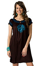 Pink Cattlelac® Women's Brown with Blue Floral Embroidery and Smocking Short Sleeve Dress