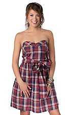 Pink Cattlelac® Women's Red, White & Blue Plaid Strapless Dress