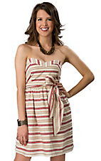 Pink Cattlelac® Women's Cream and Red Stripe with Tie Strapless Dress