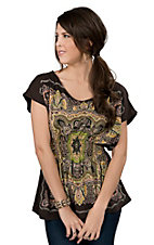 Pink Cattlelac® Women Brown with Yellow and Green Scarf Print Smocked Waist Short Sleeve Fashion Top