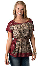 Pink Cattlelac® Women Red with Cream & Black Scarf Print Smocked Waist Short Sleeve Fashion Top