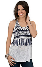 Pink Cattlelac® Women's White & Navy Aztec Print Burnout Racer Back Tank
