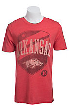 Hurley Men's Red with Arkansas Crest Short Sleeve Tee