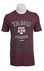 Hurley Men's Maroon with Charcoal Grey Stripes TAMU Aggies Short Sleeve Tee