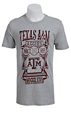 Hurley Men's Grey with Maroon Texas A&M Aggies Shield Short Sleeve Tee