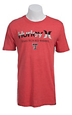 Hurley Men's Red with Grey and Black Logo Texas Tech Red Raiders Short Sleeve Tee