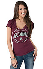 Hurley® Women's Maroon with Grey Texas A&M Aggies Circle Logo Short Sleeve Tee