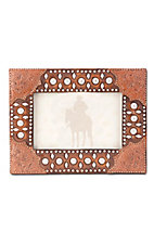 Montana Silversmiths® Brown Tooled and Studded 4x6 Rectangle Picture Frame