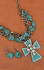 Cindy Smith Co® Turquoise Cross & Crystals Jewelry Set  PN0514