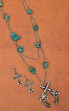 Turquoise Stone w/ Double Crossed Pistols Jewelry Set PN5367