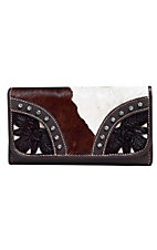 American West® Ladies Prairie Rose Brown and Cream and Cowhide Tri-Fold Wallet