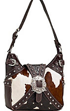 American West® Ladies Prairie Rose Brown and Cream and Cowhide Buckle Hobo Handbag