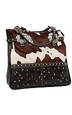 American West® Women's Prairie Rose Brown and Cream Cowhide Tooled Leather Large Zip Top Carry-All Handbag