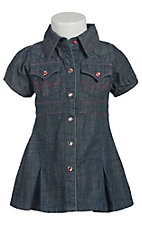 Wrangler� All Around Baby? Girls Denim Pleated Short Sleeve Dress