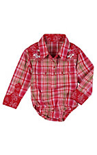 Wrangler® All Around Baby™ Girls Pink, Red & Green Plaid Long Sleeve Western Onesie