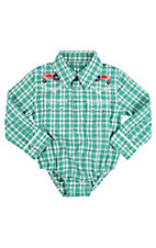 Wrangler® All Around Baby™ Boys Green & White Plaid w/ Tractors Long Sleeve Western Onesie