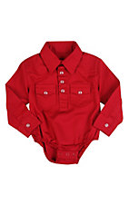 Wrangler® All Around Baby™ Boys Red Long Sleeve Western Onesie