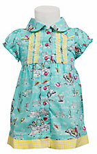 Wrangler® All Around Baby™ Girls Turquoise Western Print w/ Ruffle Cap Sleeve Dress