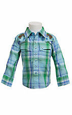 Wrangler® All Around Baby™ Boys Blue & Green Plaid w/ Bronc Rider Long Sleeve Western Shirt